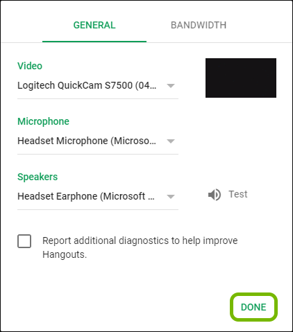 Done option highlighted in Google Hangouts settings.