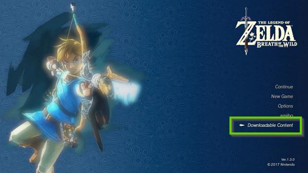 Zelda main screen showing downloadable content.