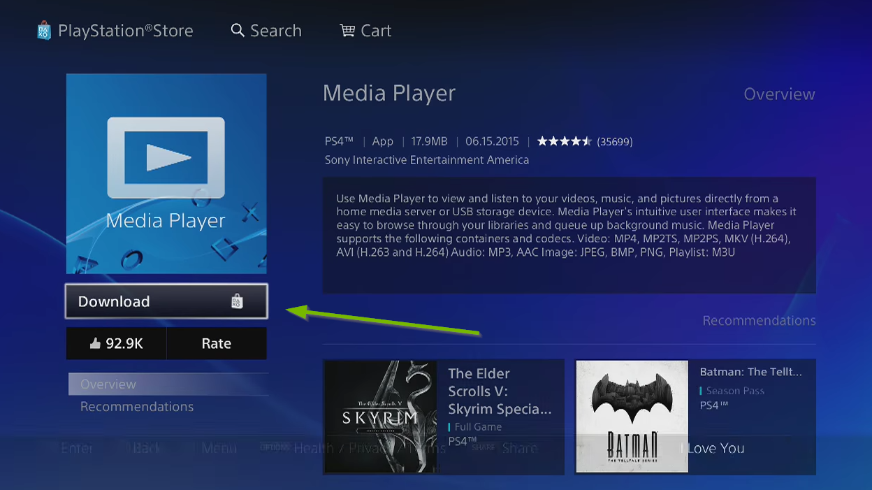 Screenshot of PlayStation store