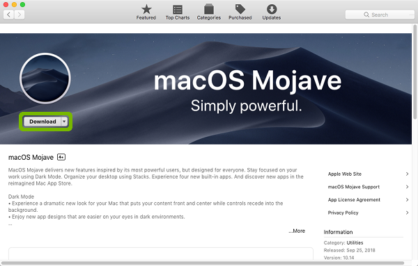 Mojave product page with Download highlighted.
