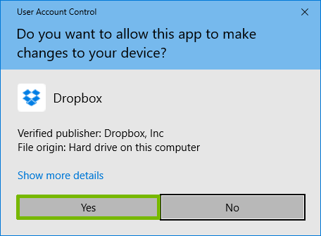 UAC for Dropbox with Yes highlighted.