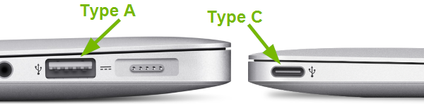 Type A and Type C USB ports pointed out on MacBooks.