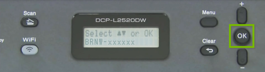Brother printer control panel highlighting the OK button.