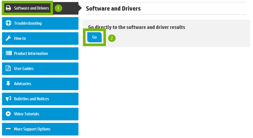 Software and drivers menu with Go selected. Screenshot.