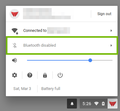 Chrome user menu with the bluetooth area highlighted