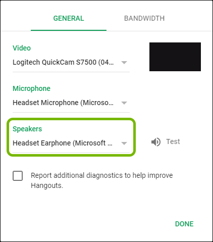 Speakers selector highlighted in Google Hangouts settings.