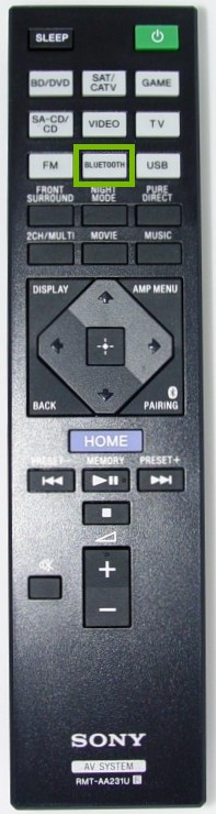 Remote control with the Bluetooth button highlighted.