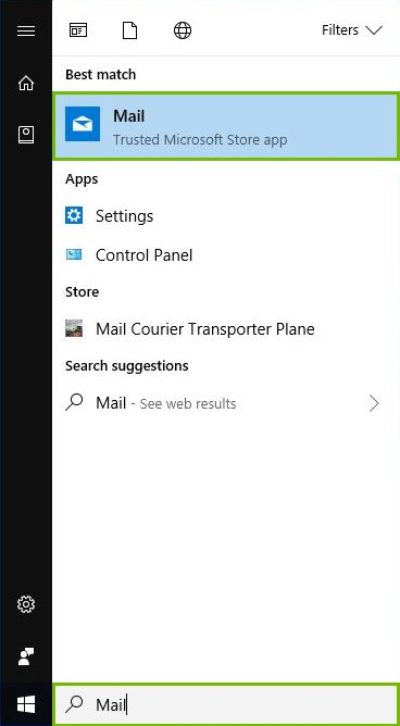 Search bar with Mail entered highlighted and Mail app highlighted