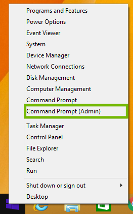 Windows 8 Start menu right-click menu, with Command Prompt Admin highlighted.