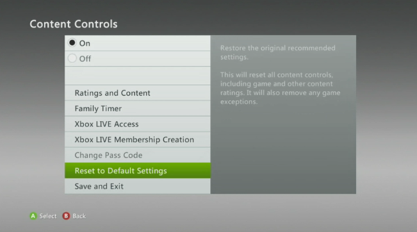 Reset to default settings
