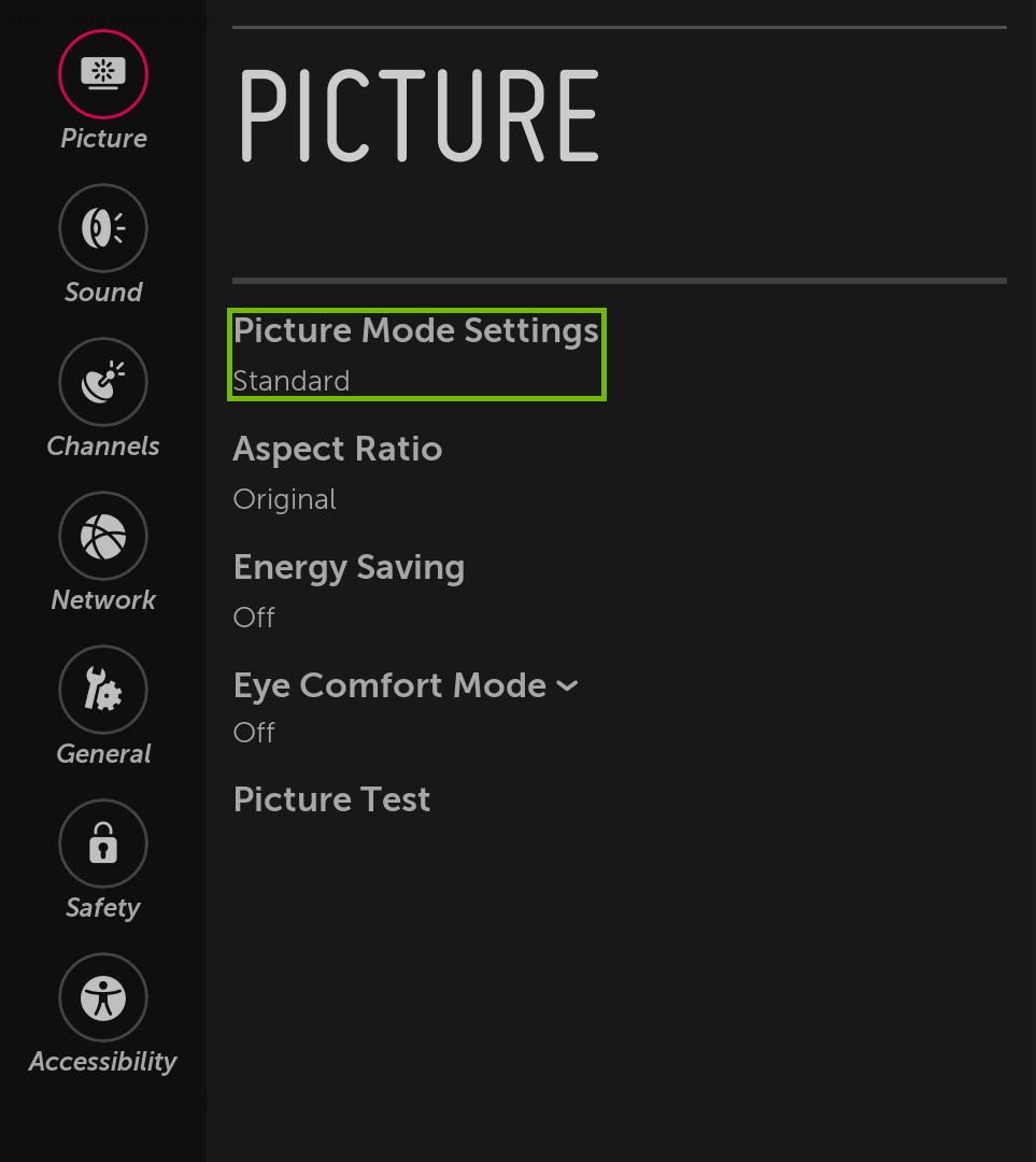Picture menu with Picture Mode Settings highlighted.