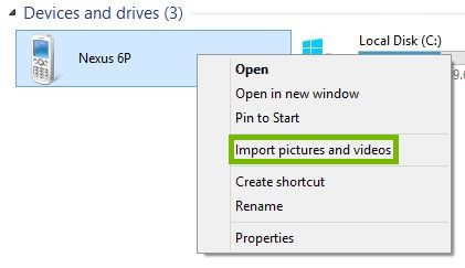 Context menu with Import pictures and videos highlighted