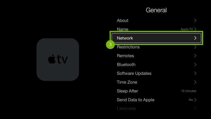General settings screen with Network option highlighted.