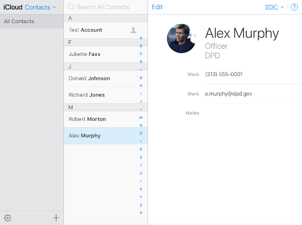 iCloud Contacts.
