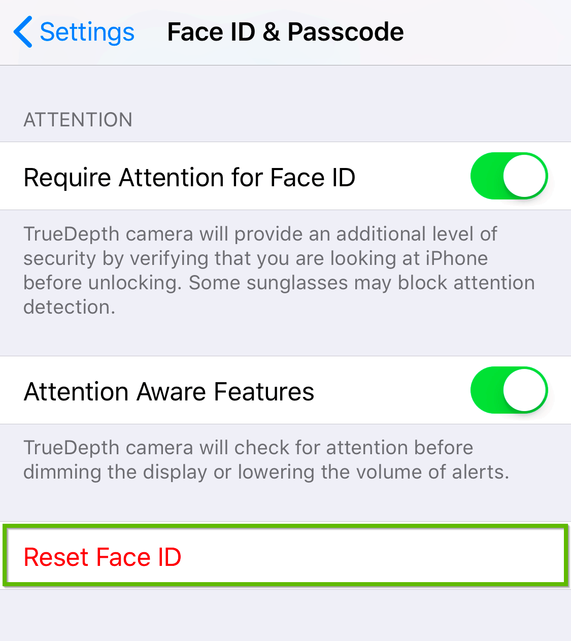 Face ID and passcode screen highlighting reset face ID.