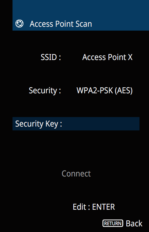 Access point scan screen with security key highlighted.