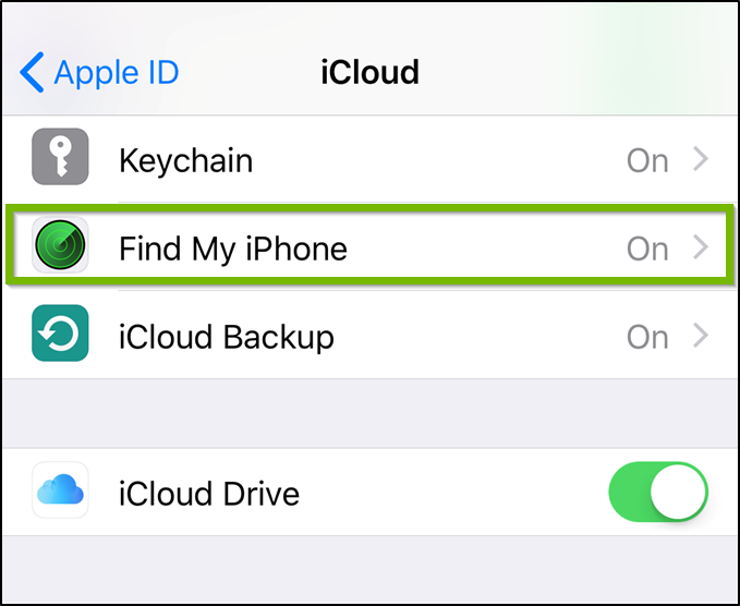 iCloud settings highlighting the Find My iPhone option.