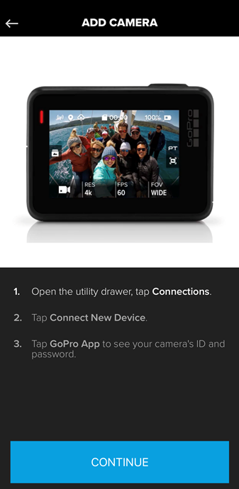 Screenshot of the GoPro app displaying instructions on how to connect your GoPro camera with the app.