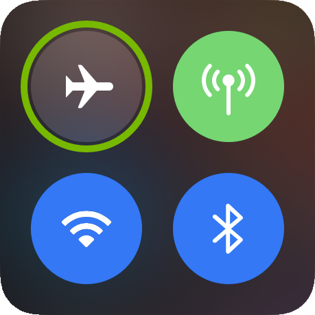 Airplane Mode icon highlighted in iOS control center.