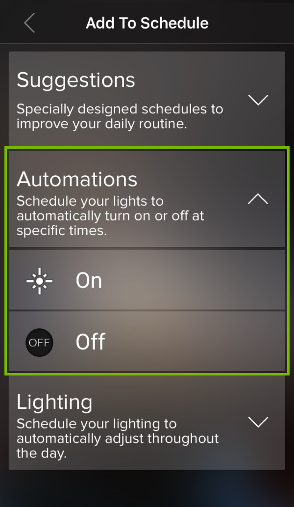 Schedule Automations highlighted in ilumi app.