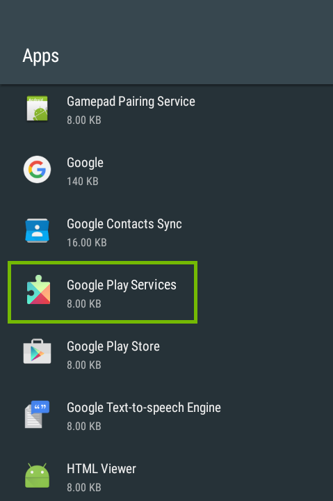 Apps list with Google Play Services highlighted.