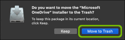 Delete installer with Move to Trash highlighted.