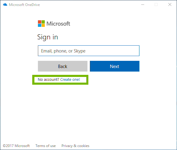 Microsoft one drive sign in page with create one selected