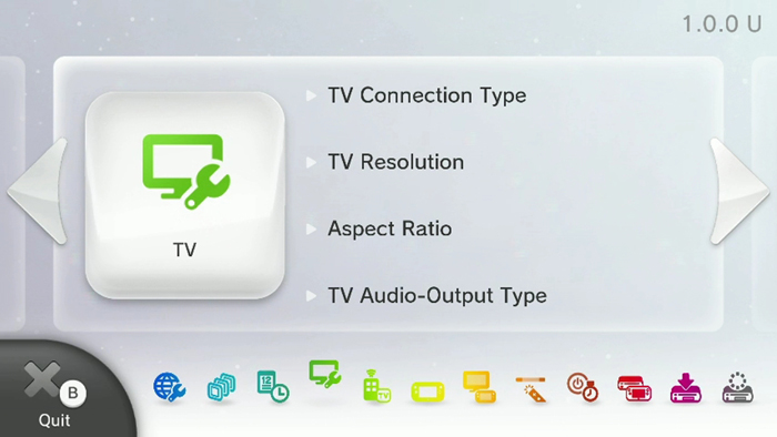Wii U system settings screen with TV selected. Screenshot.
