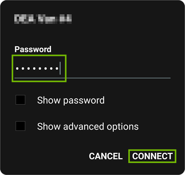 Wi-Fi password dialog with password and Connect highlighted.