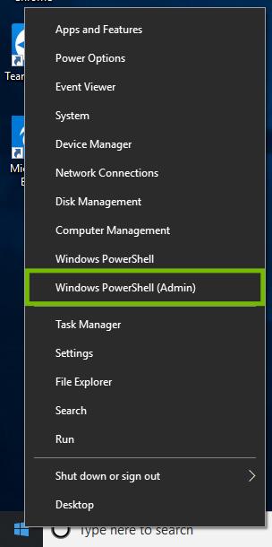 Windows 10 Start menu right click menu with PowerShell Admin highlighted.