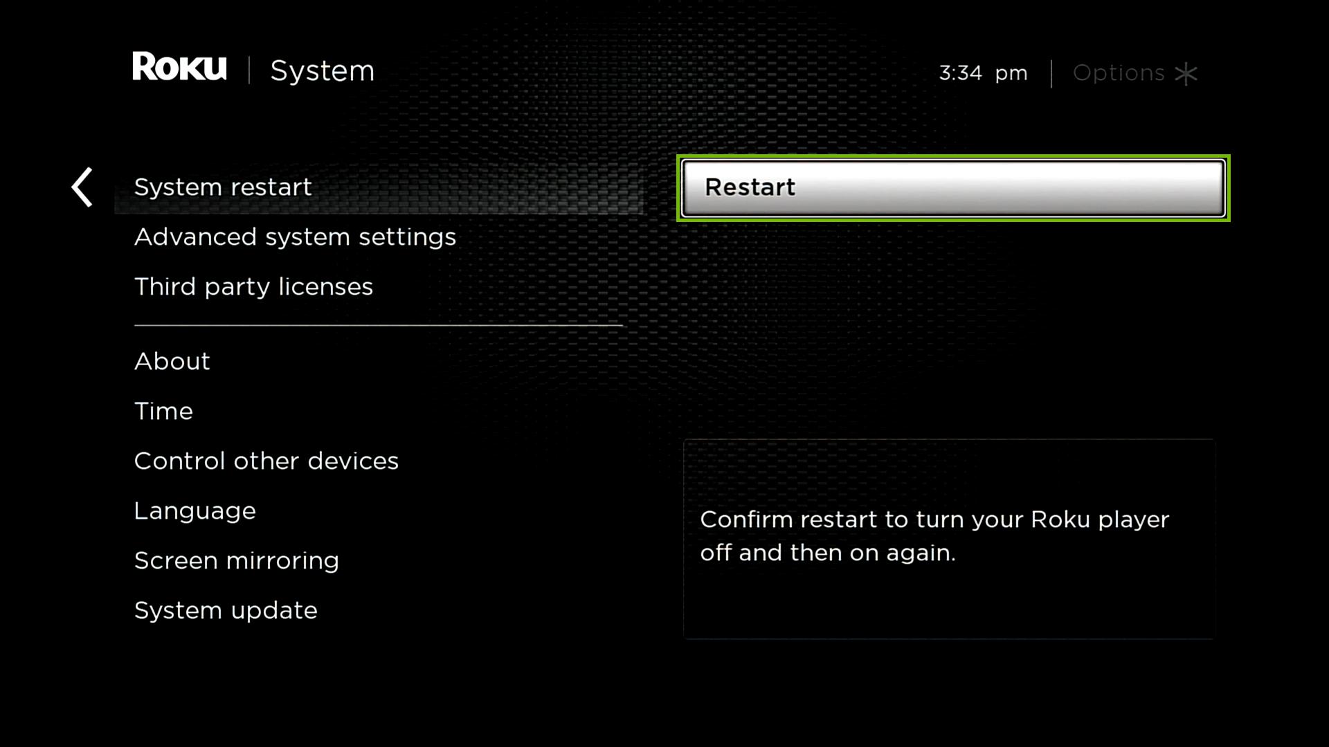 System restart with Restart highlighted.