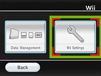 Wii settings highlighted
