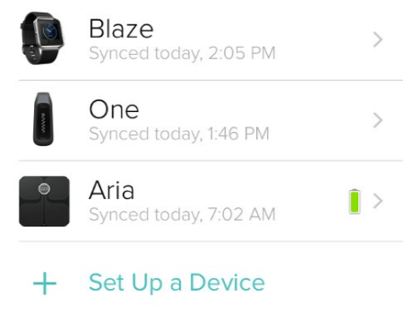 List of devices on the Account page