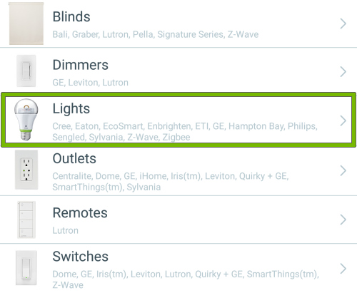 Lights option highlighted in device types list of Wink app.