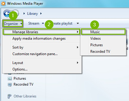 Windows media player adding music to library.