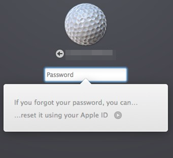 macOS log on screen showing the Apple ID option