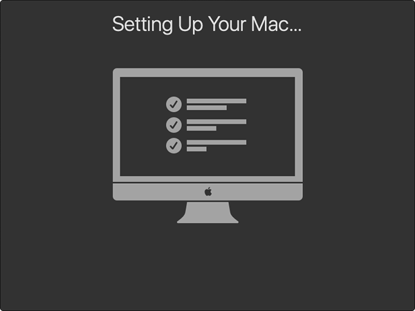 Mac completing setup.