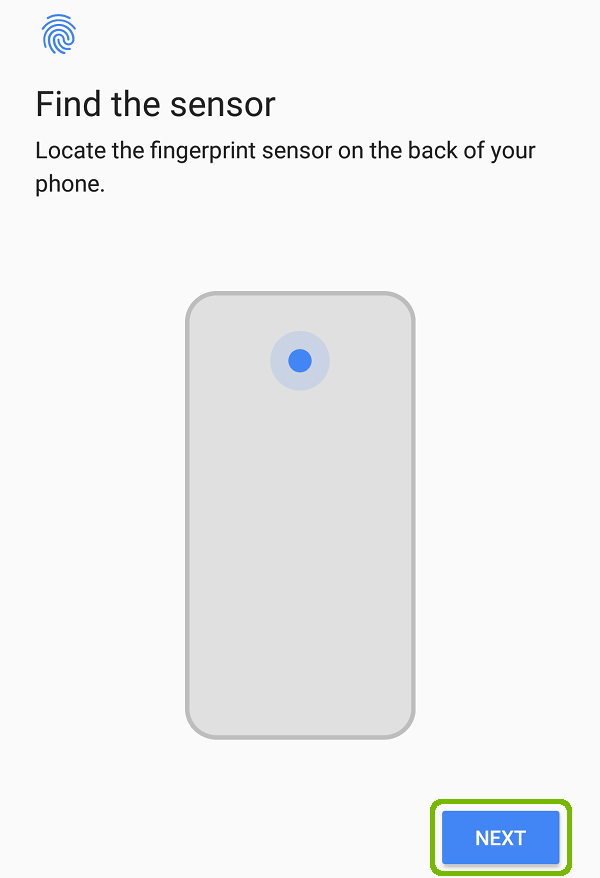 Find the sensor with Next highlighted.