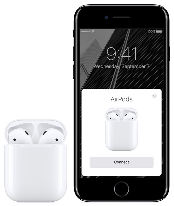 Apple AirPods near an iPhone. The iPhone displays an AirPods prompt with a connect button.