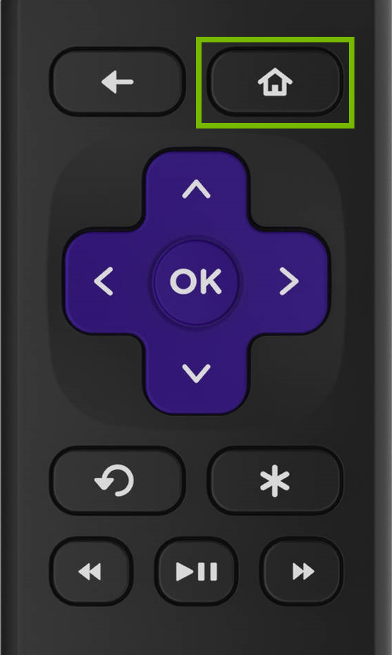 Home button highlighted on Roku remote.