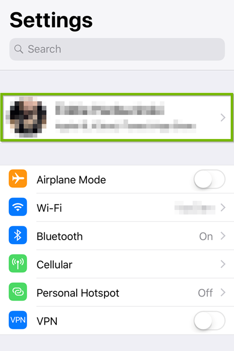 iOS settings showing the Apple ID selected
