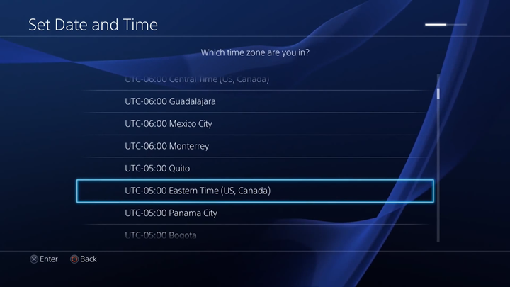 Time zone selection screen.