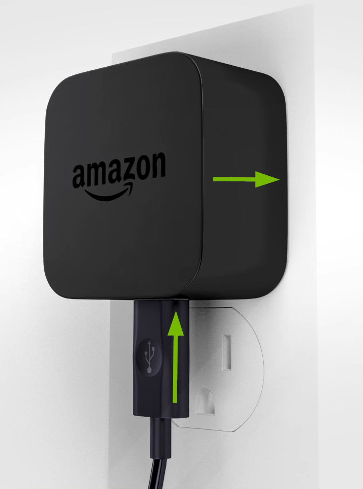 Fire TV Stick power adapter connected properly.
