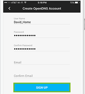 Selecting sign up to proceed with account creation