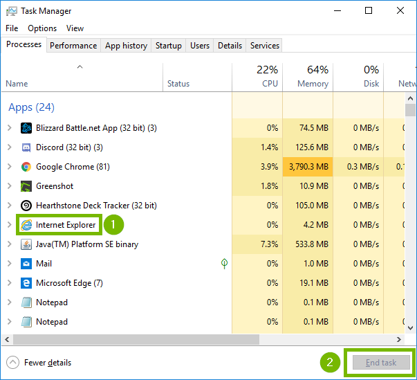 Task Manager with Internet Explorer and End task highlighted. Screenshot