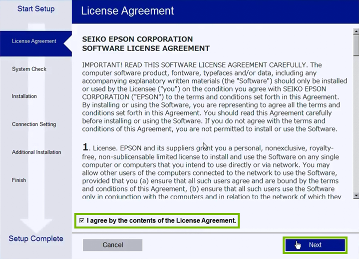 License Agreement acceptance screen in printer software setup.