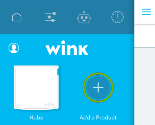 Add button highlighted in Wink app.