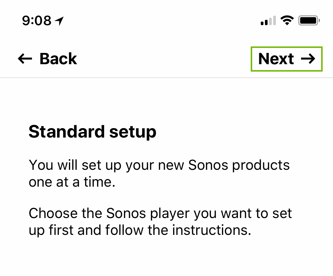 Standard setup confirmation with next highlighted