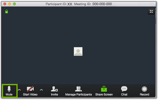 Zoom meeting showing an unmuted mic