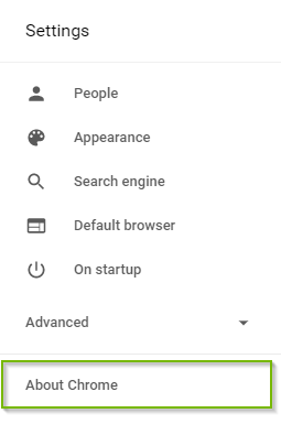 Settings with About Chrome highlighted